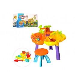 Столик-песочница 9808-1 (6шт) 62-38см,стульчик,ведерко,лейка,лопатка,грабли,формоч,в кор,51-33-21см