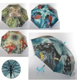 Зонтик MK 3608-1 (60шт) длина66см,трость54см,диам82см,спица48мм,клеенка,рисун,свист,6вид(AV,BM,СМ),
