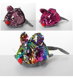 Мягкая игрушка MP 1963 (72шт) мышка, 12см, пайетки, присоска, микс цветов