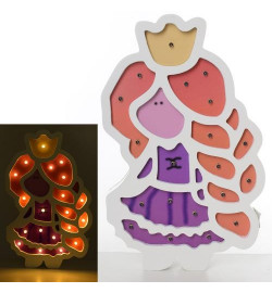 Деревянная игрушка Ночник MD 2156 (24шт) принцесса, 27,5-17см, свет, на бат-ке,в кор-ке, 26-31-3,5с
