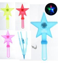 Аксессуары для праздника MK 3310 (400шт) волшебная палочка,27,5см, свет,бат(таб),4цвета, 27,5-13-2с