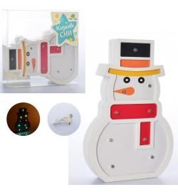 Деревянная игрушка Ночник MD 2221 (30шт) снеговик20см,св, USBзар, от сети/на бат, в кор, 20-20,5-4с