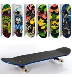 Скейт MS 0355-4 (6шт) 79-20см(нажд),алюм.подвеска,колесаПУ, подшABEC-7,6видов,разобр,
