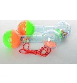 Погремушка YL020 (800шт) гантеля, 2 цвета, в кульке, 15-5,5-5,5см