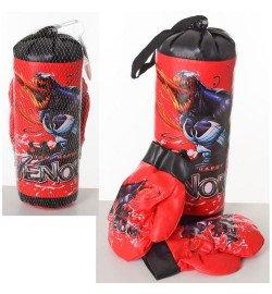 Боксерский набор M 6208 (96шт) МГ, груша 30-11см, перчатки 2шт, в сетке, 30-15-11см