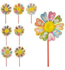 Ветрячок M 6059 (500шт) цветок, размер маленький, диам. 16см, палочка 28см, микс видов