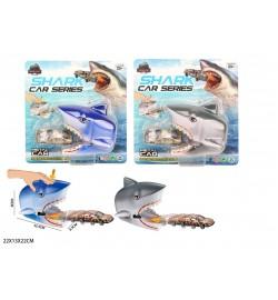 Трек KZ958-402A акула с метал.машинкой.запуск.2цв.лист 22*13*22 /96/
