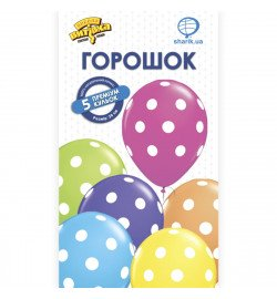 1111-0928 Кулька Набір латексних кульок Горошок, 5 од. ПАК, ТМ