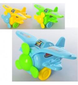Самолет 198-1 (120шт) заводной, 14см, звук, 3цвета, в кульке, 17-14-9см