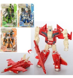 Трансформер HY-2390 (144шт) 12см, робот+самолет, 4 вида, на листе, 22-32-4,5см