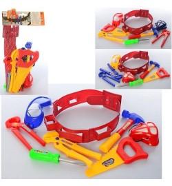 Набор инструментов 006-2 (72шт) молоток,пила,очки, маска,ремень,отвертка,микс цв, в сетке,17-39-13с