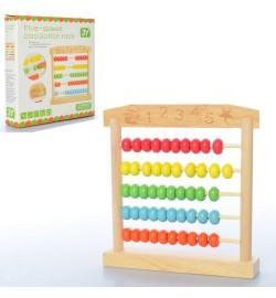 Деревянная игрушка Счеты MD 2104 (54шт) 17см, в кор-ке, 17,5-17,5-3см