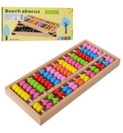 Деревянная игрушка Счеты MD 2113 (40шт) в кор-ке, 29,5-13,5-3см