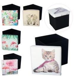Корзина для игрушек M 5757 (24шт) пуф, 31-31-31см, 6видов(кошка,собачки, фламинго), в кул, 31-31-4с